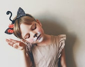 Kitty Ears Halloween Hair Bow Headband, Liberty of London, giddyupandgrow