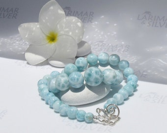 Larimar necklace, Lady Mermaid 10 - water blue Larimar beads necklace, blue pearls, aqua, graduated, topaz blue, handmade - 16 inches - A