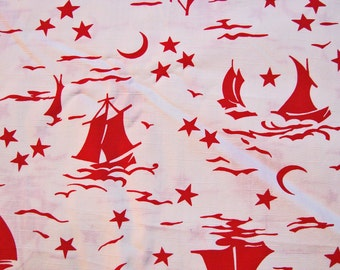 Vintage Fabric by the yard Red Nautical Fabric Cotton 35 inch wide Red Sailboats Moon Stars Fabric Vintage Sewing Fabric