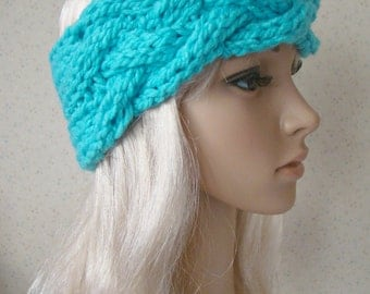 Blue Knit Headband Ear warmer Hat Chunky Cable Stitch