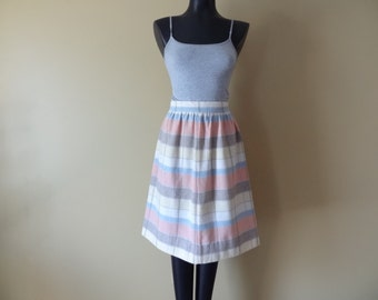 Vintage Skirt with Pastel Stripes Pink Blue Brown and Yellow Womens size Small