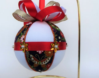 Christmas Ornament Materials Kit - Navy Japanese Floral, White with Red and Gold Trim - Hansha