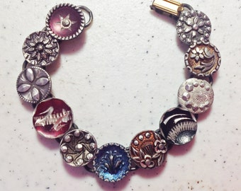 1800s Pewter Button Bracelet