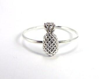 Pineapple Ring, Silver Pineapple Ring, Silver Stacking ring, Midi Ring, pineapple stacking ring, boho rings, hawaii rings, aloha ring,