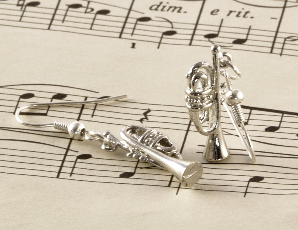 Silver Trumpet Earrings - Trumpet Gift - Music Earrings - Cornet Jewellery