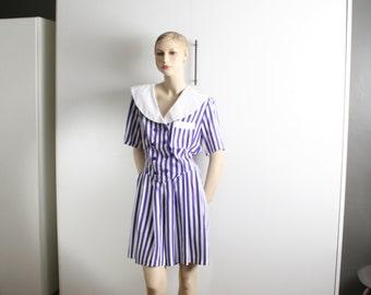 romper peter pan collar purple white striped lolita vintage 1990s