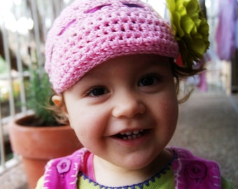 Toddler Newsboy Hat with lime flower - Pink n Lime - 8-18 month / crochet hat / girls hat / pink hat