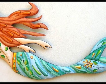 Mermaid Art, Painted Metal Wall Hanging, Mermaid Wall Decor, Metal Wall Art,