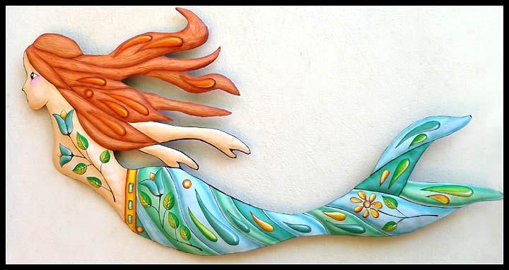 Mermaid Art Painted Metal Wall Hanging Mermaid Decor Metal