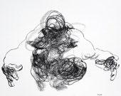 "Minimal Male Wall Art -  ""Drawing 421"" - 12 x 9"" charcoal on paper - original drawing"