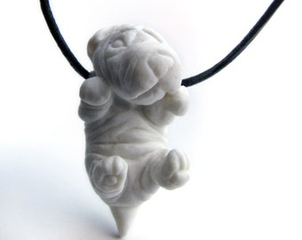 Puppy necklace porcelain shar pei