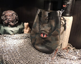 Medium bag--- Camo  leather  with Red Eye