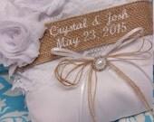 Burlap Wedding Ring bearer pillow, beautiful rustic pillow burlap and lace wedding ring pillow, name pillow, personalized pillow, Custom
