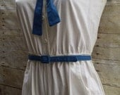 pin up sailor romper jumpsuit cropped leg jumper white cotton blue tie and accents vintage 80s nautical uniform style