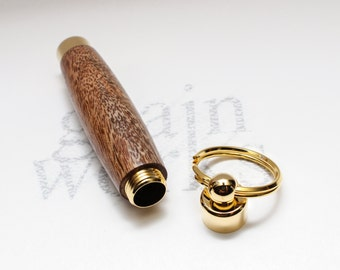 Mango Wood Secret Compartment Key Chain with 10kt Gold Accents (Gift Ready)