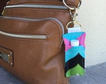 Colorful Chevron Lip Balm Keychain - Chapstick Holder for Purse or Diaper Bag -Lip Balm Holder -Lipstick Caddy -Small Gift