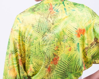 Colorful shawl, yellow shawl with jungle print, gift under 30, spring evening wrap, gift for women, tropical, shawl for a black dress