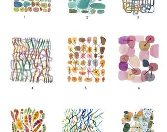 set of 9 prints, fine art prints, watercolor prints, bulk art set