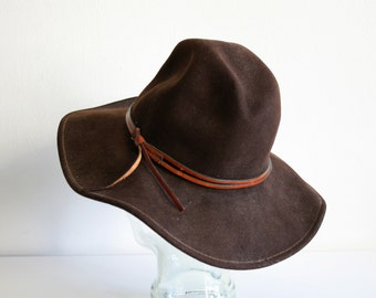 Brown Felted Wool Brimmed Hat