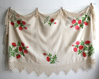 Mexican Rose Long Lace Embroidered Tablecloth