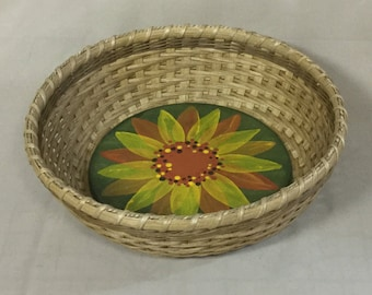 Hand Woven Round Bowl-Type Basket with Painted Sunflower on Wood Base