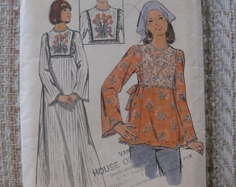 Butterick Size 9/10 Young Junior/Teen Dress and Tunic Pattern 4070 with Embroidery Transfer