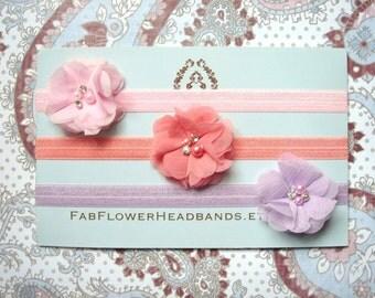 Pink Coral Lavender Lilac Peach - Set of Three Headbands - Headband Set - Small Flower Headbands - Newborn Headbands - Baby Headbands