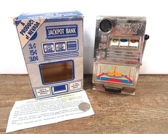 Vintage Jackpot Bank Reno in Original Box, Directions - One Armed Bandit Bank - WORKS