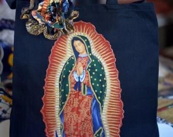 Tote Bag, Virgen de Guadalupe ,Black Canvas Tote Bag, Fabric Applique, Mother of Mexican, Mexican Bohemian