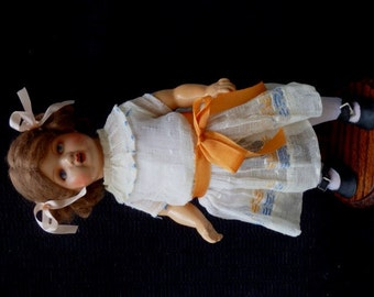 "Unusual Antique All Composition German 13"" Doll 6/0"