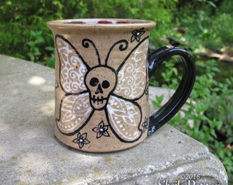 Butterfly Skull Mug - stoneware coffee cup