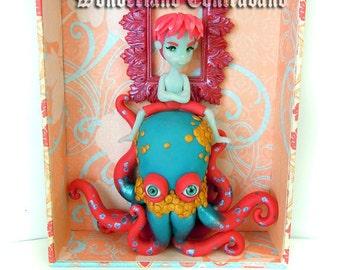 SALE - Harim and Sheba - Fantasy Octopod Rider - ORIGINAL OOAK Miniature Sculpture - Wall Decor