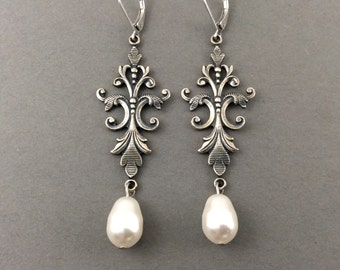 Long Pearl Earrings Silver Vintage Chandelier Earrings Fleur De Lis With Cream Swarovski Crystal Teardrops Pearls