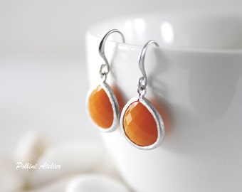 Orange Ice- Pumpkin Orange Stone Earrings in Silver. Everyday Wear. Modern Chic. Bridemaids Gift. Wedding Attire (SER-60)