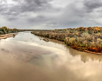 Muddy, Rio Grande River, Southwest, Stormy, Albuquerque, New Mexico, Cranes, Flying, south, to Bosque De L'Apache, Autumn leaves, Route 66