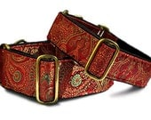 """Martingale Collar or Buckle Dog Collar: Orleans Brocade in Red (1.5"""" & 2"""")"""