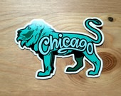 Chicago Lion Sticker, Souvenir Gift Art, Midwest Institute Design, Illinois Travel City, Pride Green Chicagoan, Laptop Bumper Decal