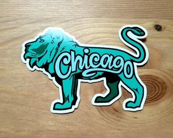 Chicago Lion Sticker, Souvenir Gift Art, Midwest Institute Design, Illinois Travel City, Pride Green Chicagoan, Laptop Bumper Decal