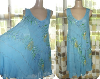 Vintage 90s Dress | 1990s Swing Dress | Handpainted Festival Dress | Rayon Tent Dress | BOHO Hippie Grunge | Sz Large | Raya Sun India