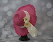 Tea Party Hat; Pink Easter Bonnet with Ribbon; Girls Sun Hat; Pink Easter Hat; Sunday Dress Hat; Derby Hat; 16245