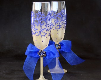 Champagne Glasses, Wedding Glasses, Royal Blue Gold Glasses, Peacock Glasses, Hand Painted, Set of 2
