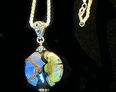 Lampwork Handmade Glass bead with Siver Box Chain