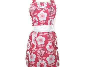Classic Retro Apron for women, WhiteTies, Pink Flower apron, matching pockets, bridal shower, birthday, Christmas gift, cute chef aprons,