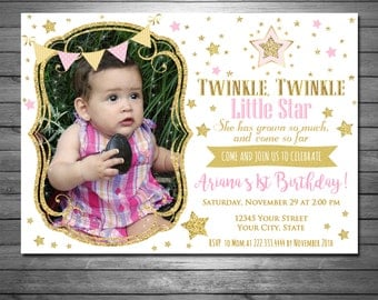 Twinkle, Twinkle, Little Star Birthday Invitation, Printable File, Pink and Gold, Gold Glitter, Nursery Rhyme Invitation, Gold Stars