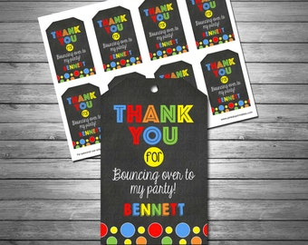Bounce House Thank You Tags, Bounce House Favor Tags, Jumping Birthday Tags, Jump Party, Chalkboard Thank You Tags, Printable File