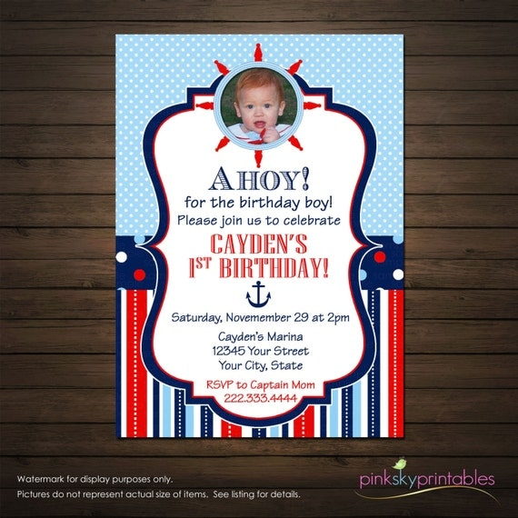 Nautical Birthday Invitations Personalized, For Boys, Stripes, Polka Dots, Red, White and Blue, Ships Wheel, Photo Invitation