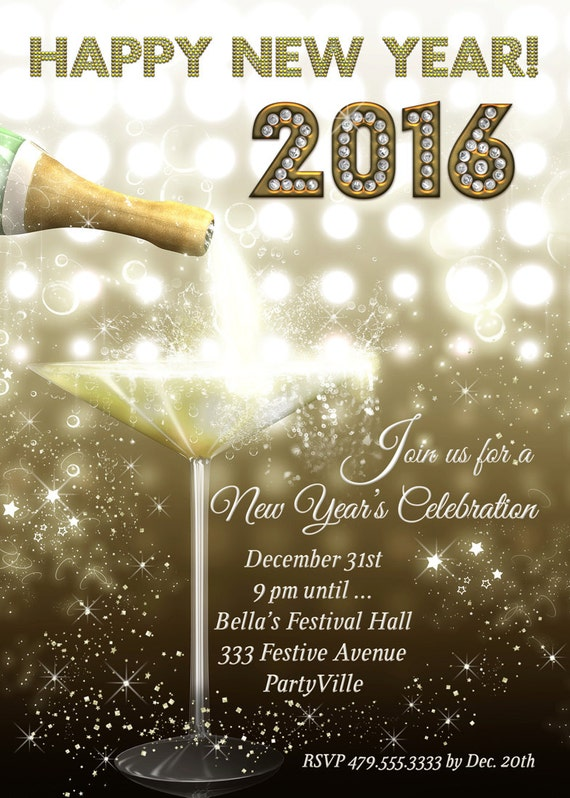 New Years Eve Party Invitation 2016 New Years New Year Party  New Years Eve P...