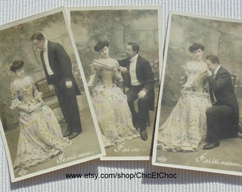 """Set of 3 French Romantic Postcards - """"I Came, I Saw, I Was Conquered..."""""""