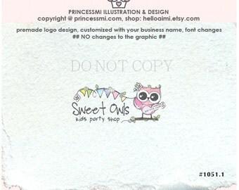 1051-1 pink Owl logo, party shop logo, cute owl logo, Custom logo / Premade Logo Design / OWL business logo watermark