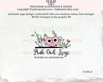 1206-4  owl logo design, pink OWL logo, boutique logo, business logo , photography watermark, child, kids business branding
